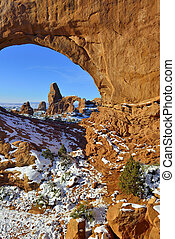 Turret Arch seen through North Window Arch in Arches...