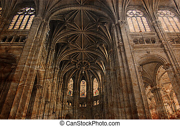 Vintage Gothic cathedral of Paris - old picture in retro...