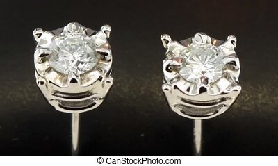 Shining diamond stud earrings - Diamond anniversary jewelry...