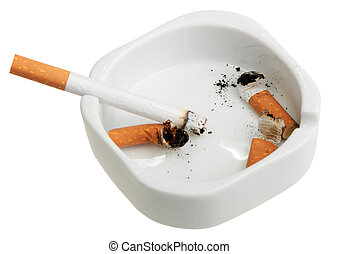 White ashtray with a smoking butts and cigarette Close-up...