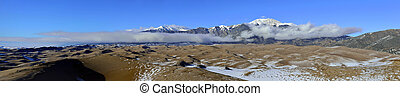 panoramic view of the Great Sand Dunes National Park,...