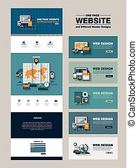 simplicity one page website design template in flat style