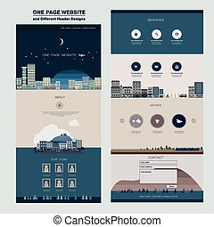 night city scene one page website design template