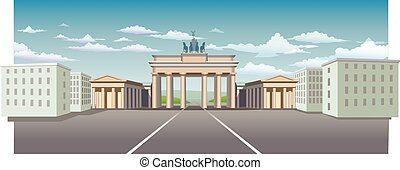 Brandenburg Gate - the road leading to the city through the...