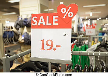 Sale - Discount price in a shop during sale