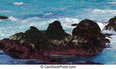 Waves Atlantic Ocean Breaking onto Rocks, Azores