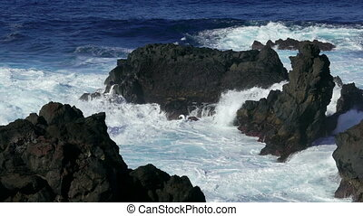 Waves Atlantic Ocean Breaking onto Rocks, Azores