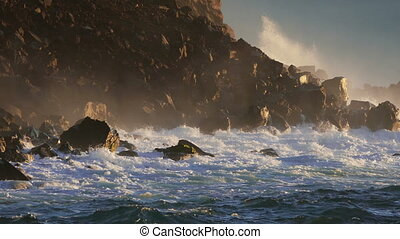 Waves Atlantic Ocean Breaking onto Rocks