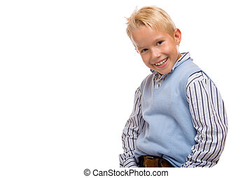 closeup Young child is laughing and casual on white background