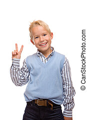 Young child is laughing and express self confidence