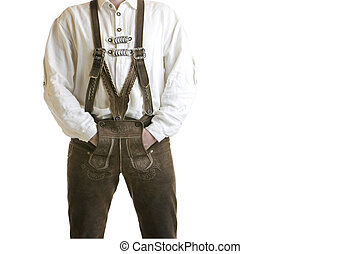 Oktoberfest leather trousers - closeuop of Bavarian man...