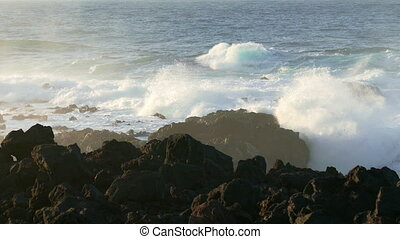 Waves Atlantic Ocean Breaking onto Rocks, sunset