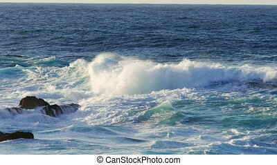Waves Atlantic Ocean Breaking onto Rocks, panoramic view
