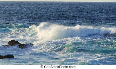 Waves Atlantic Ocean Breaking onto Rocks, panoramic view