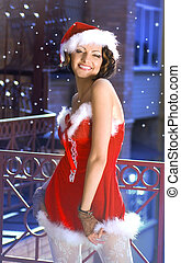 beautiful girl wearing santa claus clothes - Portrait of...