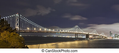 San Francisco Bay bridge in the nigt