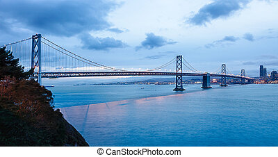 San Francisco Bay bridge in the twilight