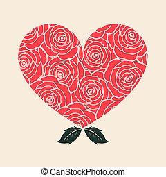 Rose Heart lovely, vector illustration