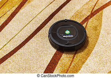 Robotic vacuum cleaner on carpet