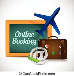 online booking. travel concept illustration design over a...