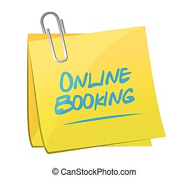 online booking memo post illustration design over a white...