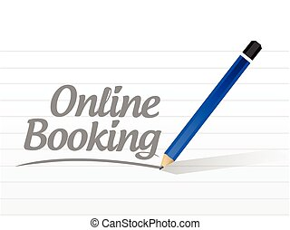 online booking message sign illustration design over a white...