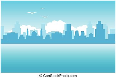 Silhouette of the city on seaside