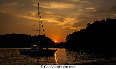 Sailboat on the sea at Ao Yon Bay, Phuket, Thailand -...