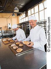 panaderos, verificar, recientemente, cocido al horno, bread,...