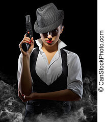 婦女, 黑色, 槍