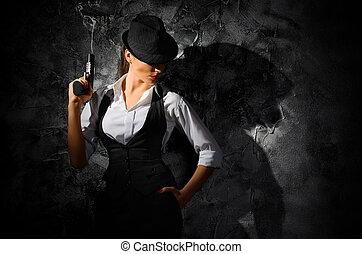 美麗, 危險, 女孩, 犯罪, 槍