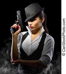 女孩, 年輕, 槍