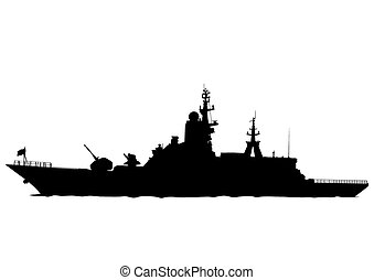 Large warship - Silhouette of a large warship on a white...