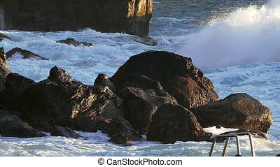 Waves Atlantic Ocean Breaking onto Rocks, slow motion