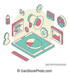 isometric background seo optimization