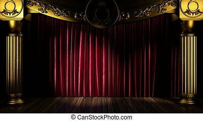 Loop light on fabric curtain stage