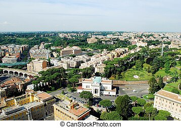 Aerial view of Rome city from St Peter Basilica roof - ROME,...