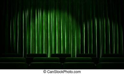 Loop light on fabric curtain stage