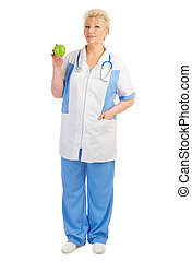 Mature doctor with apple