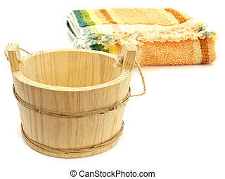 vat and towel - Photo of the wooden vat and multicolored...