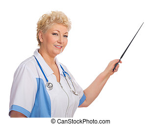 Mature doctor with pointer stick isolated