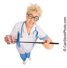 Mature funny doctor with pointer stick and pills isolated