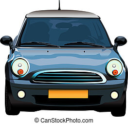 Small auto - Small blue mini car vector color ilustration