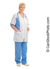 Smiling mature doctor isolated
