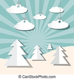 Paper Winter Vector Landscape with Trees and Clouds