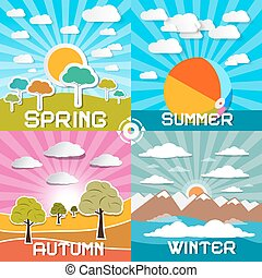Four Seasons Vector Illustration - Spring - Summer - Autumn and Winter