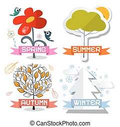 Four Seasons Vector Symbols Isolated on White Background