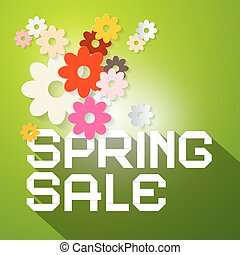 Spring Sale Vector Illustration with Colorful Paper Cut...