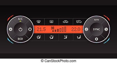 Dual air condition dashboard design - Digital air condition...
