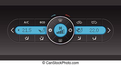 Digital air condition dashboard design with blue lcd -...